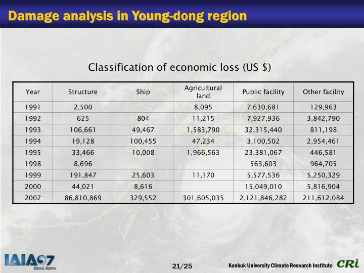 Damage analysis in Young-dong region