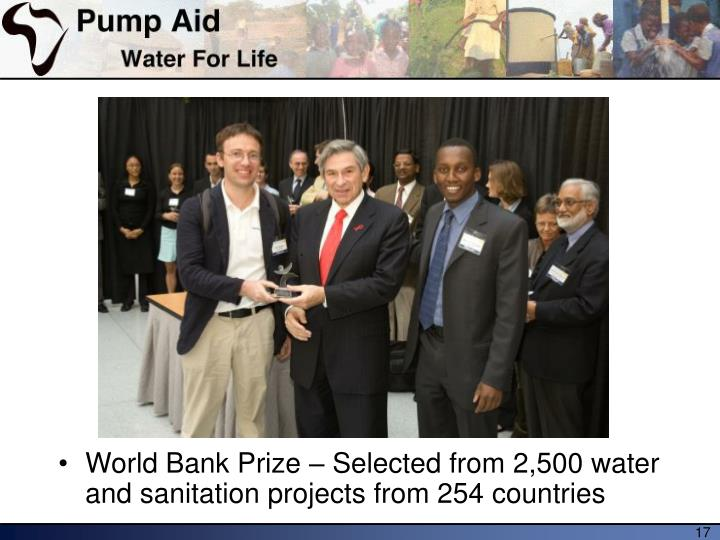 World Bank Prize – Selected from 2,500 water and sanitation projects from 254 countries