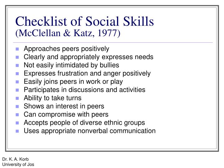 Checklist of Social Skills