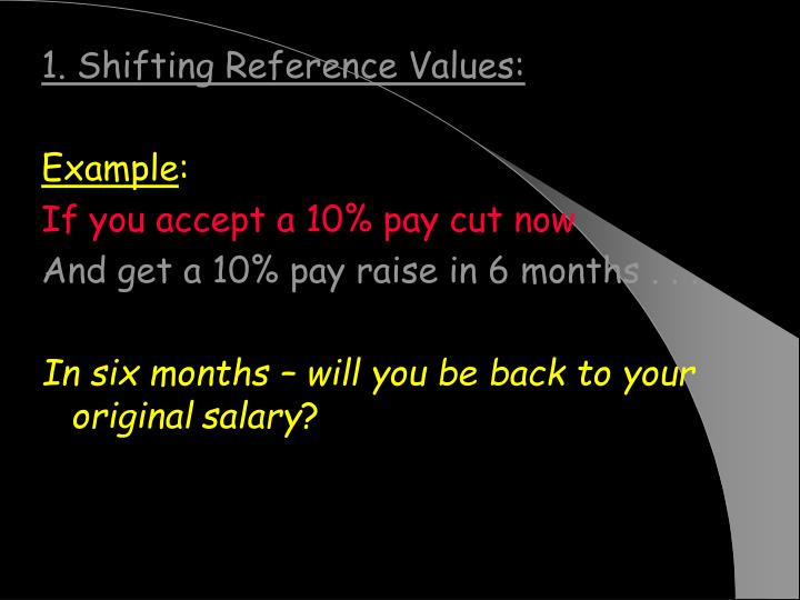 1. Shifting Reference Values: