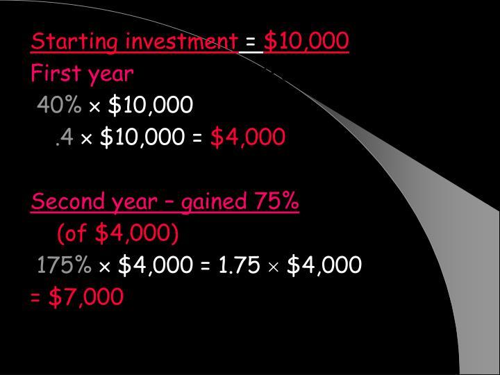 Starting investment
