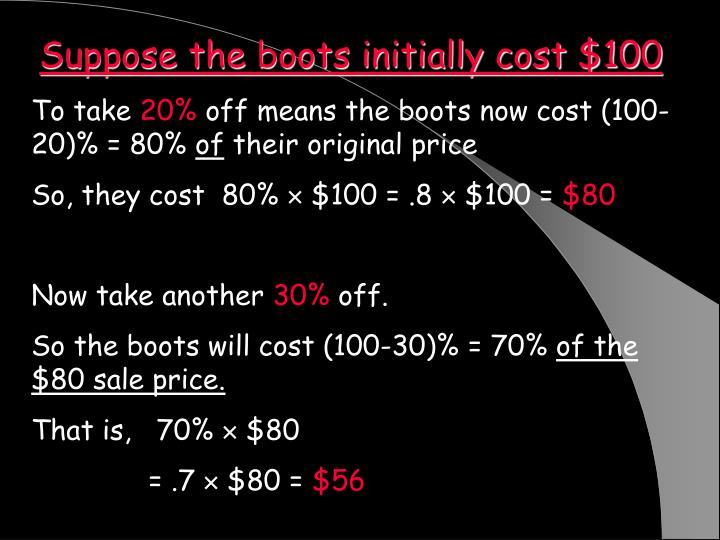 Suppose the boots initially cost $100