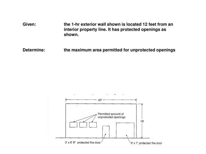 Given: 		the 1-hr exterior wall shown is located 12 feet from an 		interior property line. It has pr...