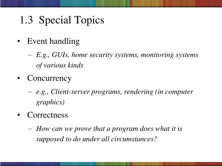 1.3  Special Topics