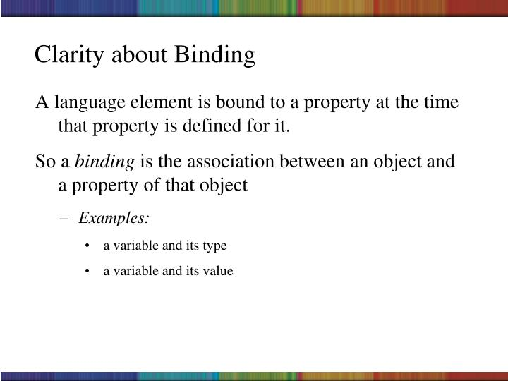 Clarity about Binding
