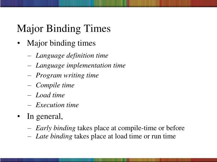 Major Binding Times