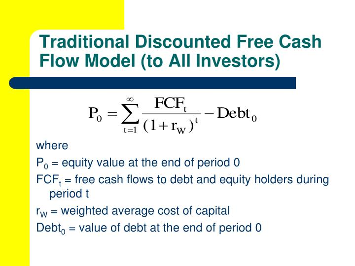 Traditional Discounted Free Cash Flow Model (to All Investors)