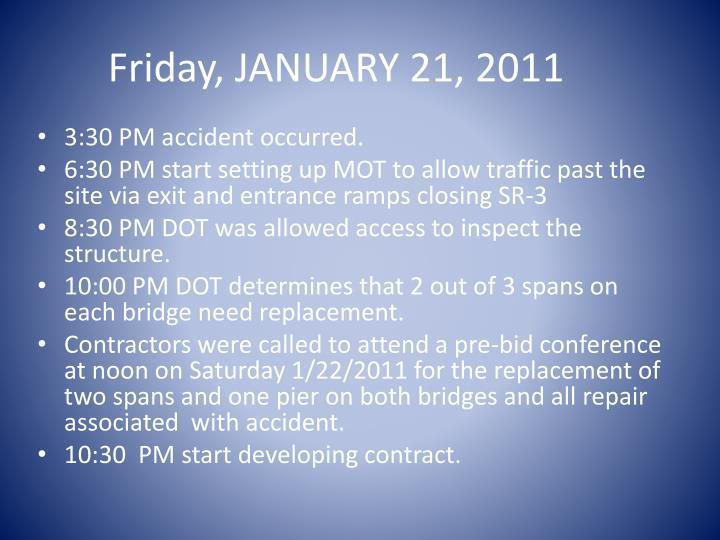 Friday, JANUARY 21, 2011