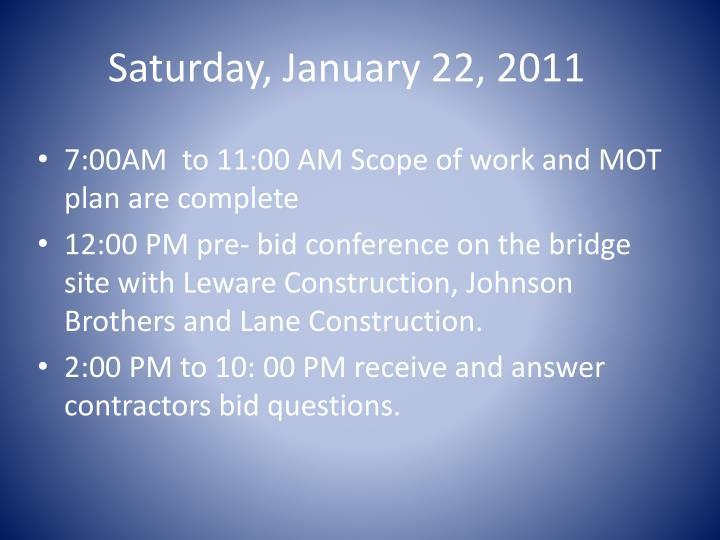 Saturday, January 22, 2011