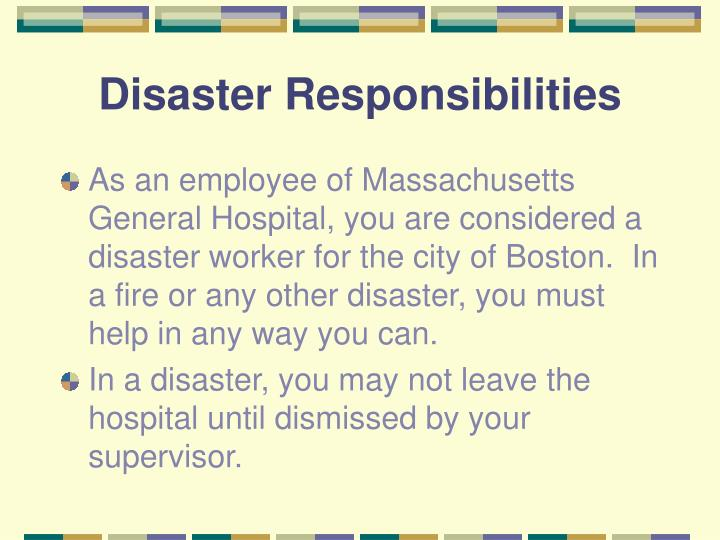 Disaster responsibilities