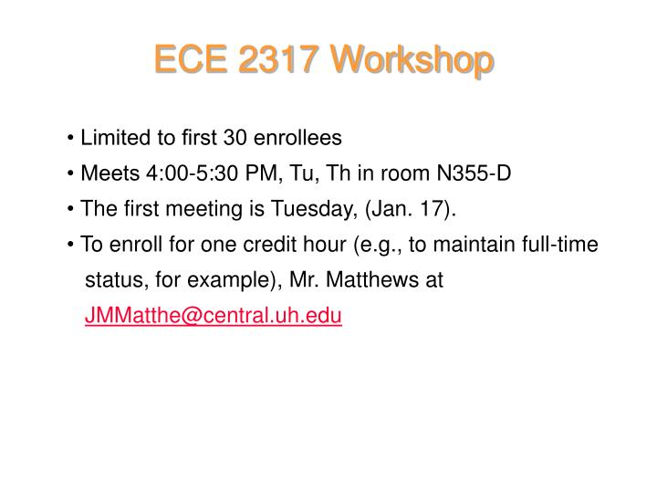 ECE 2317 Workshop