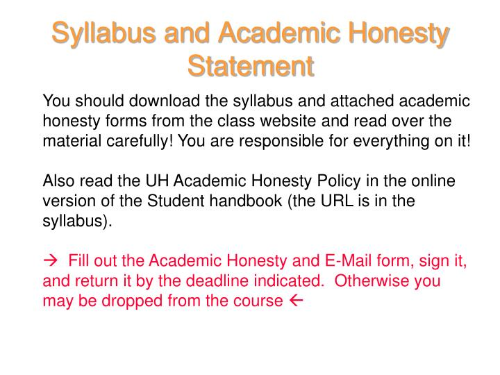 Syllabus and Academic Honesty Statement