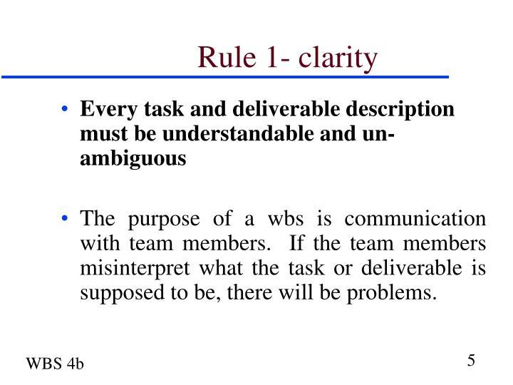 Rule 1- clarity
