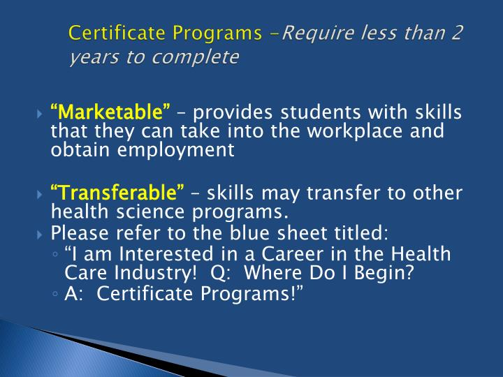 Certificate Programs -