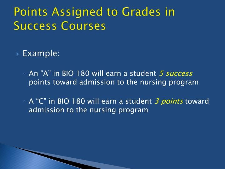 Points Assigned to Grades in Success Courses
