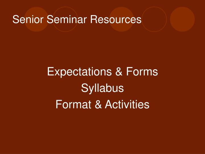 Senior Seminar Resources