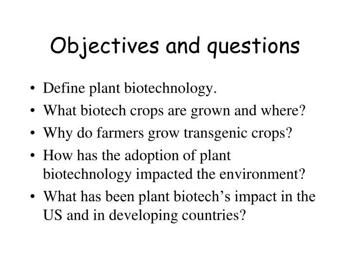 Objectives and questions