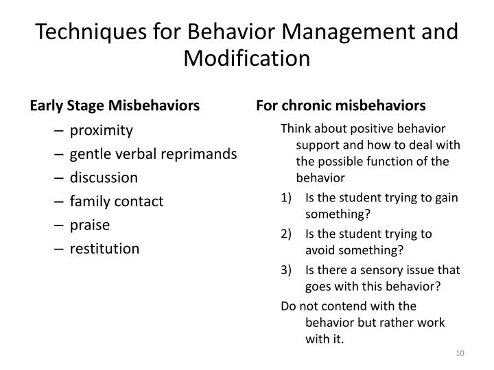 Techniques for Behavior Management and Modification