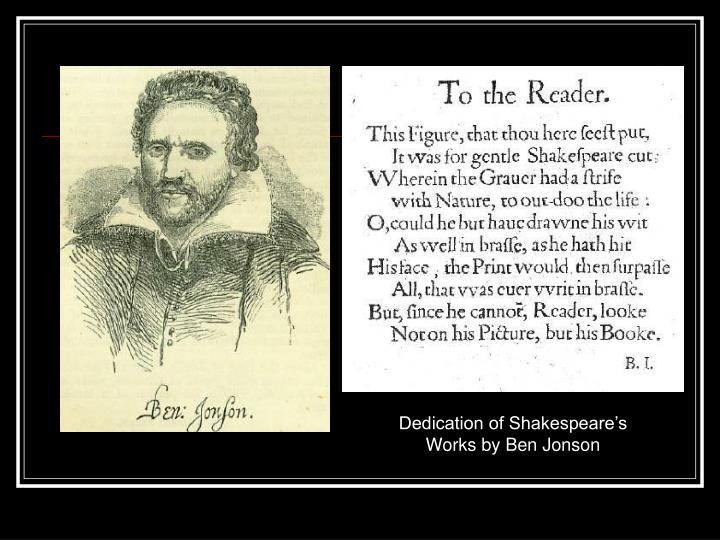 Dedication of Shakespeare's Works by Ben Jonson