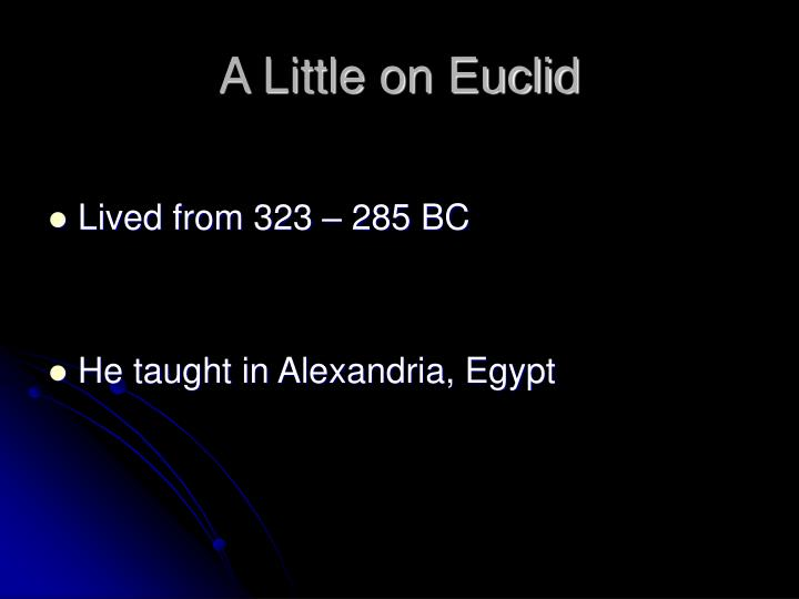 A little on euclid