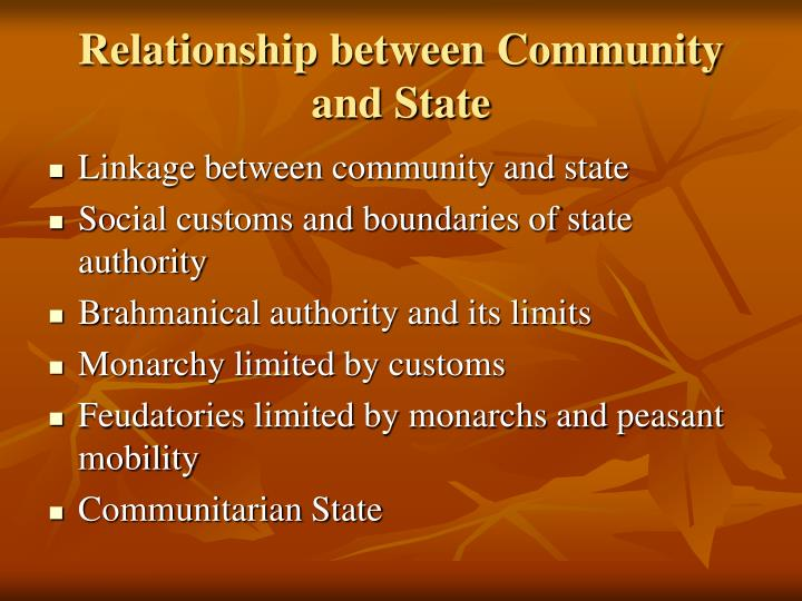 Relationship between Community and State