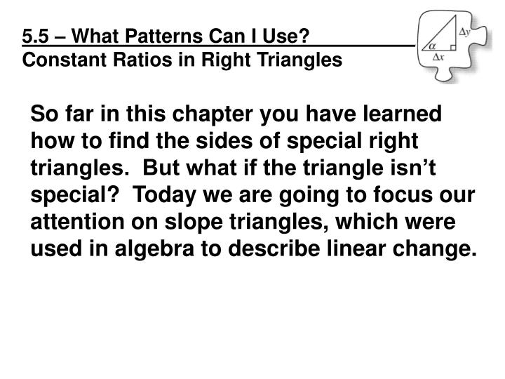 5.5 – What Patterns Can I Use?