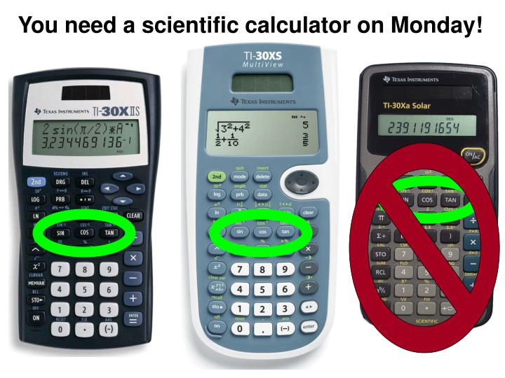 You need a scientific calculator on Monday!