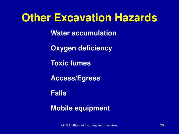 Other Excavation Hazards