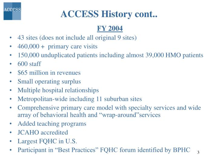 Access history cont