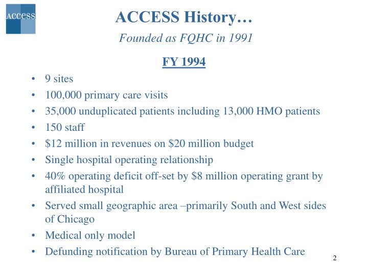 Access history founded as fqhc in 1991