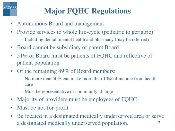 Major FQHC Regulations