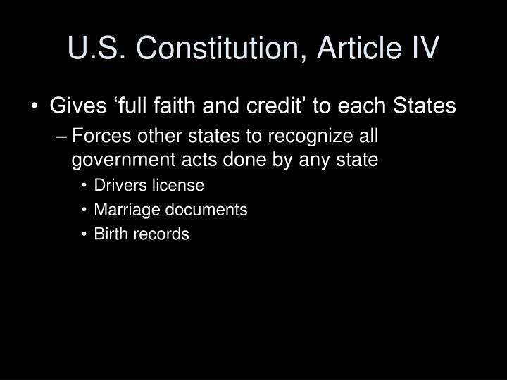 U.S. Constitution, Article IV