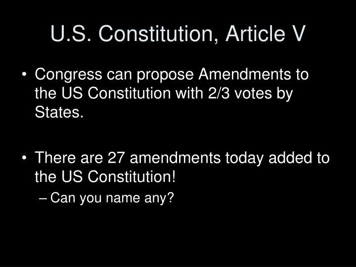 U.S. Constitution, Article V