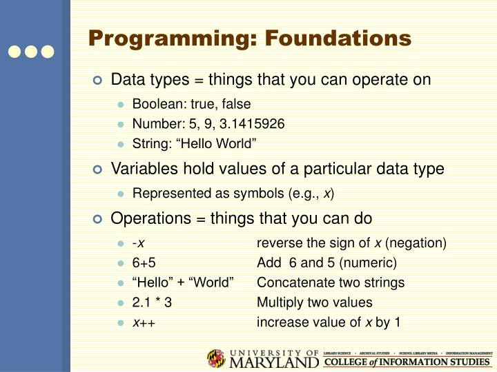 Programming: Foundations