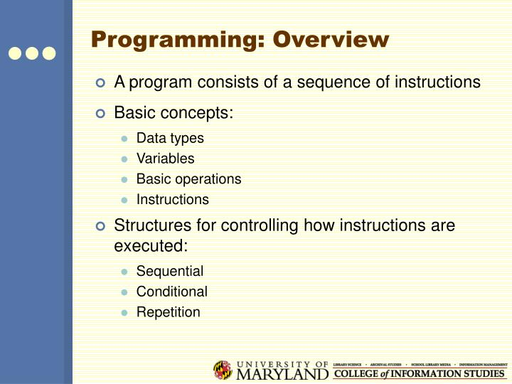 Programming: Overview