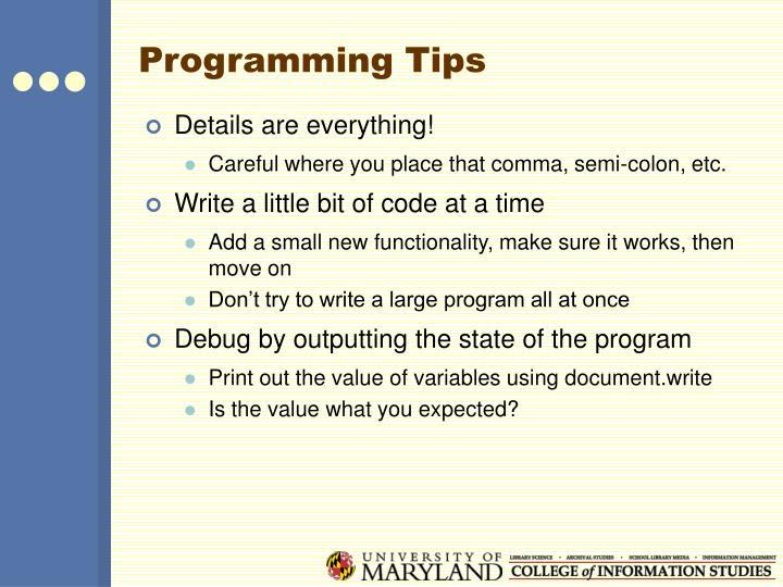 Programming Tips
