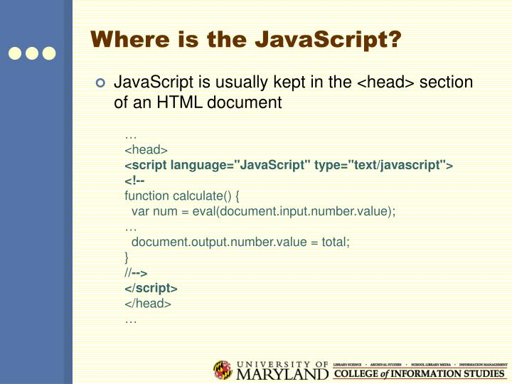 Where is the JavaScript?