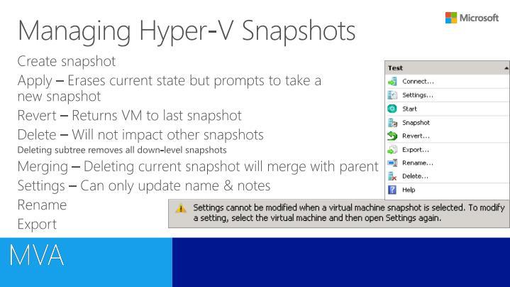 Managing Hyper-V Snapshots