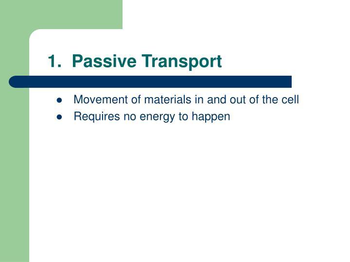1.  Passive Transport
