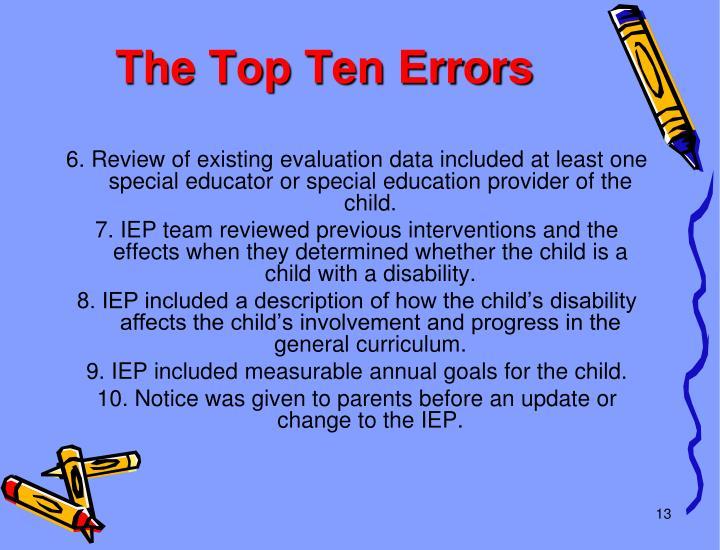 The Top Ten Errors