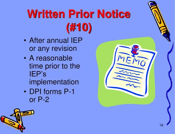 Written Prior Notice (#10)