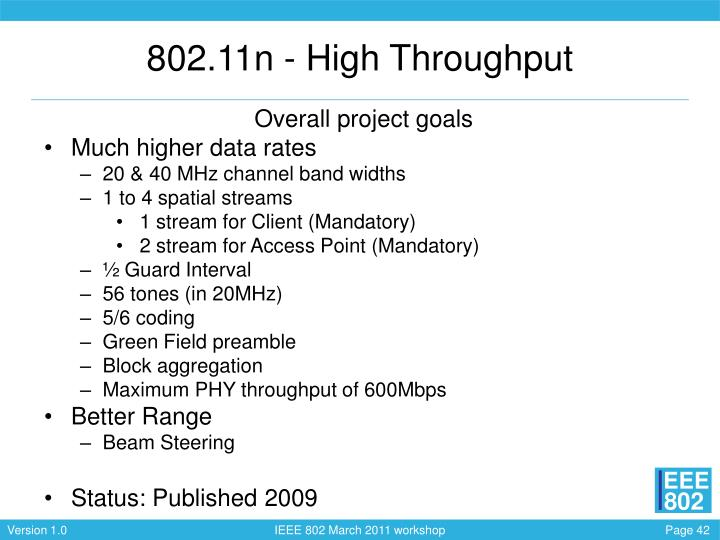 802.11n - High Throughput