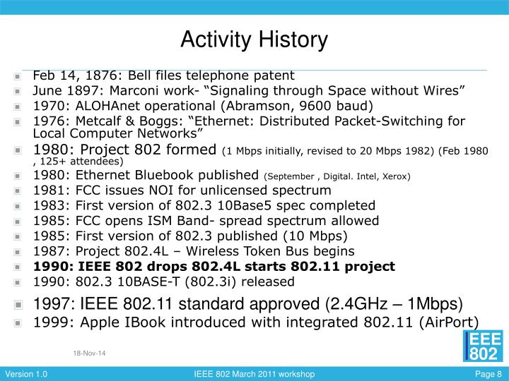 Activity History