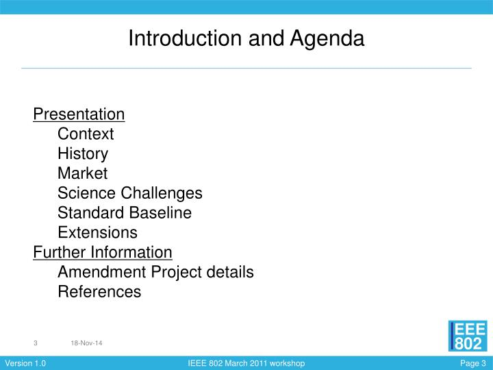 Introduction and Agenda