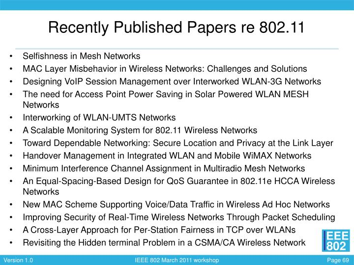 Recently Published Papers re 802.11