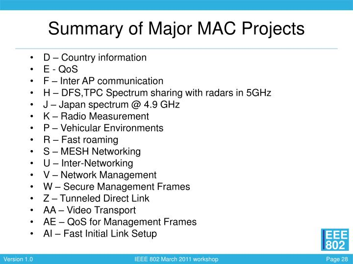 Summary of Major MAC Projects