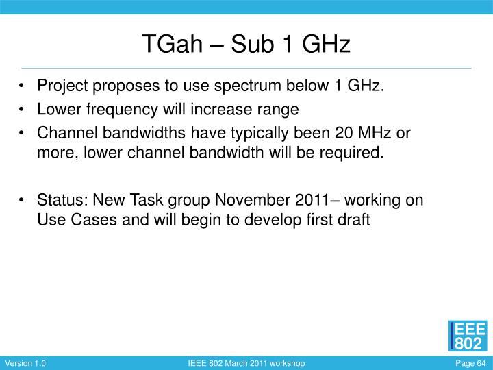 TGah – Sub 1 GHz