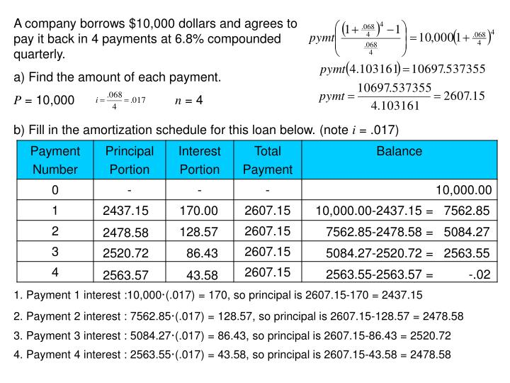 A company borrows $10,000 dollars and agrees to pay it back in 4 payments at 6.8% compounded quarterly.