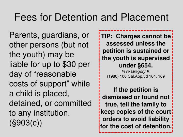 Fees for Detention and Placement