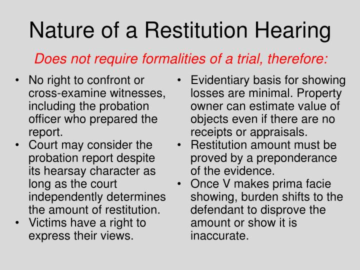 Nature of a Restitution Hearing